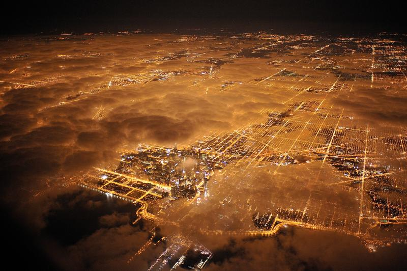 An aerial photo of Chicago at night
