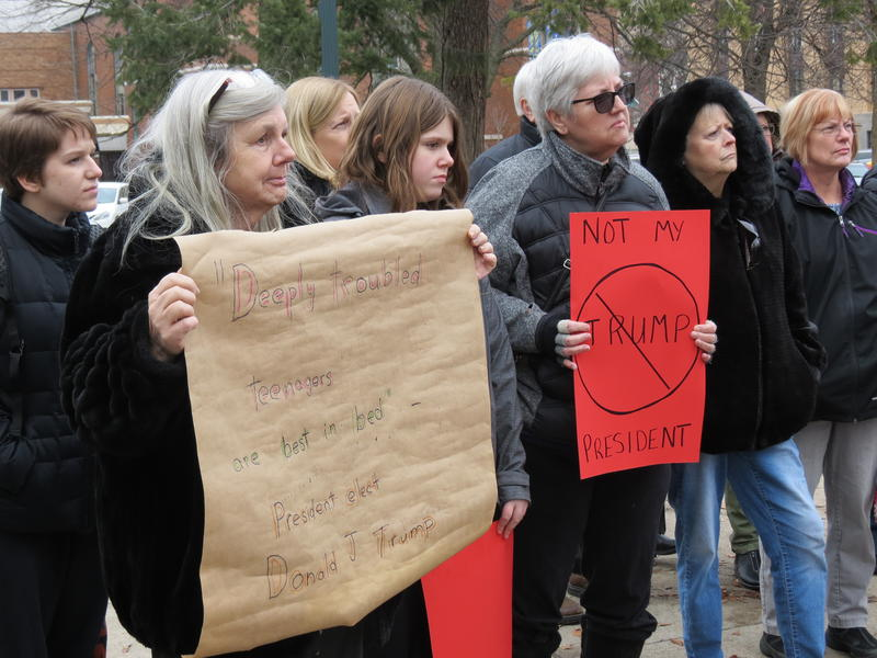Kalamazoo residents protesting Trump's presidency on National Resist Day