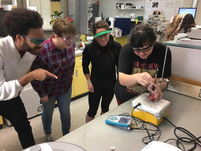 Art student Aoi Fukuyama (right) collects a sample onto a SPME fiber. Also pictured are music student Tony Mitchell (far left) and chemistry students Emily Passmore (middle left) and Taylor Grace (middle right).