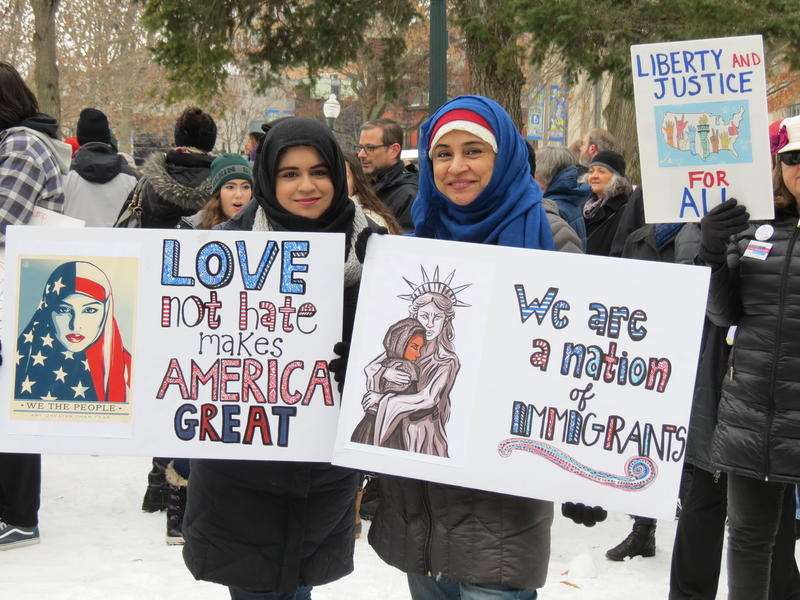 (File photo) Kalamazoo residents Erum and Seema Shah rallying for immigrant and Muslim rights at Bronson Park