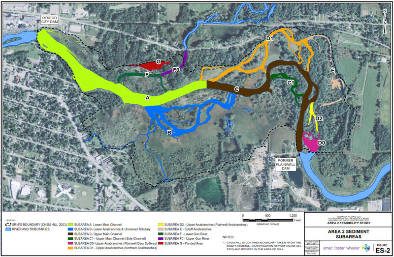 A map of Area 2 of the Kalamazoo River cleanup between Plainwell and the Otsego City Dam. The lines in orange are the anabraches - which is where the EPA says most of the contamination lies.