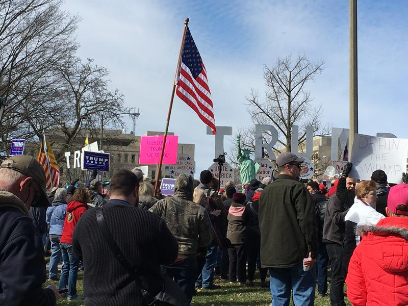 Supporters of President Donald Trump rally at State Capitol Saturday March 4, 2017