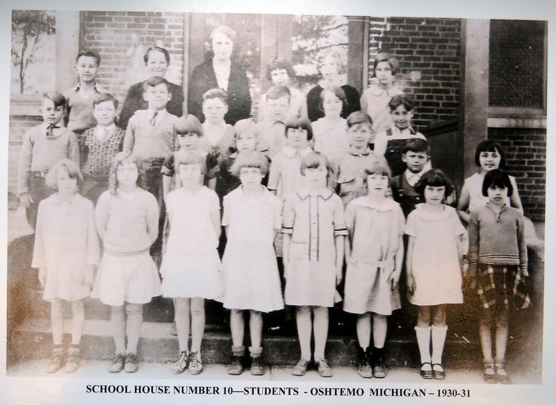 A class picture from the No. 10 School. According to the Oshtemo Historical Society, Mary Jane Anderson is the student at top right.