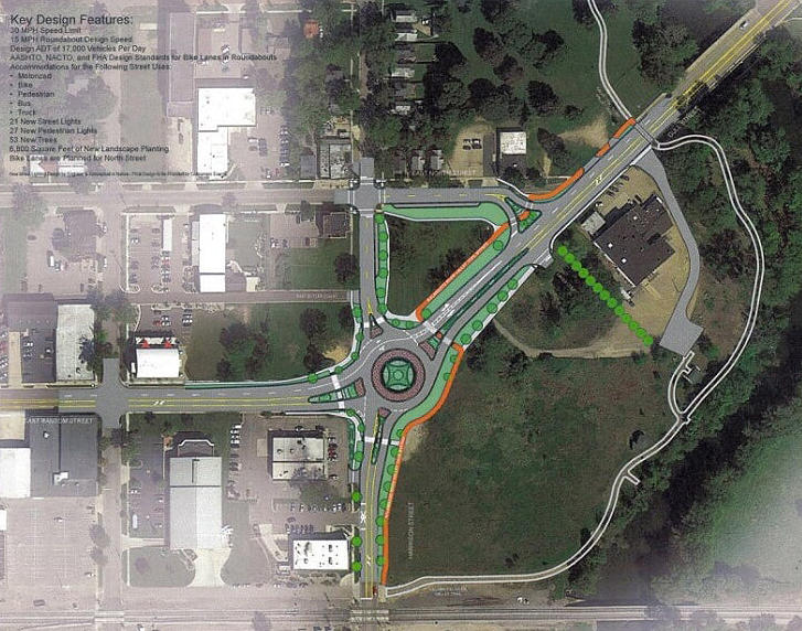 The current design plan for the roundabout at Gull Road and Harrison Street in Kalamazoo.