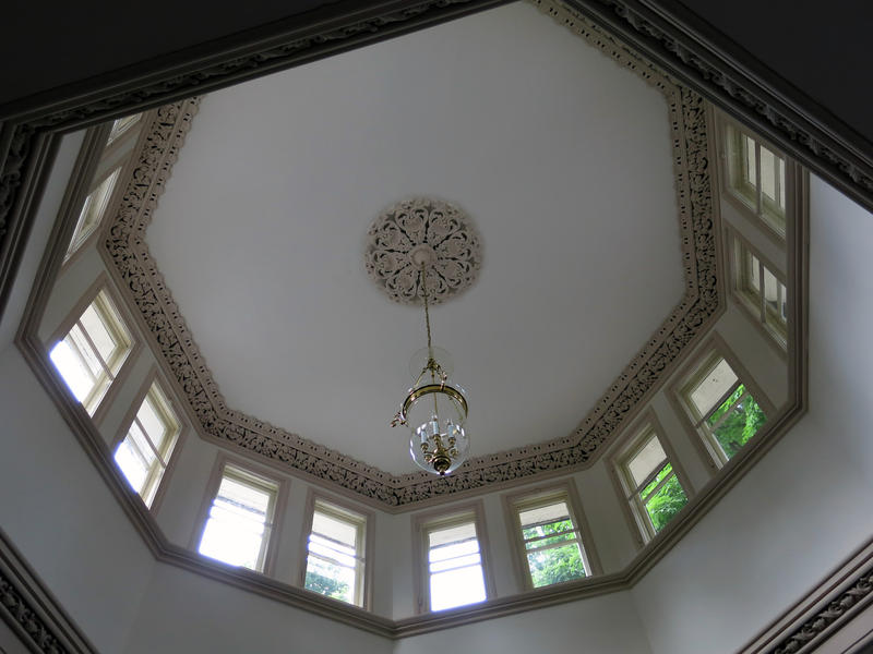 A cupola lights the big, open room at the center of the Potter house