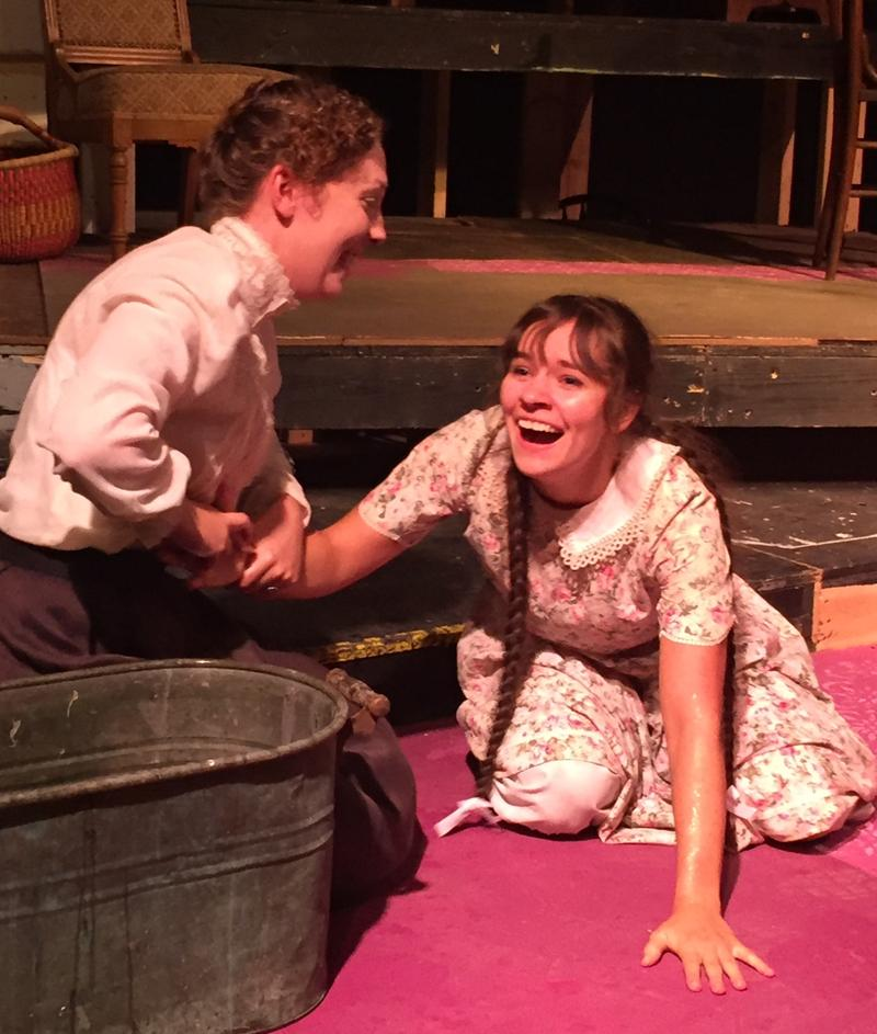 Sarah Stiner (left) plays the role of Annie Sullivan, Helen Keller's teacher. Keller is played by Rachel Doane (right).