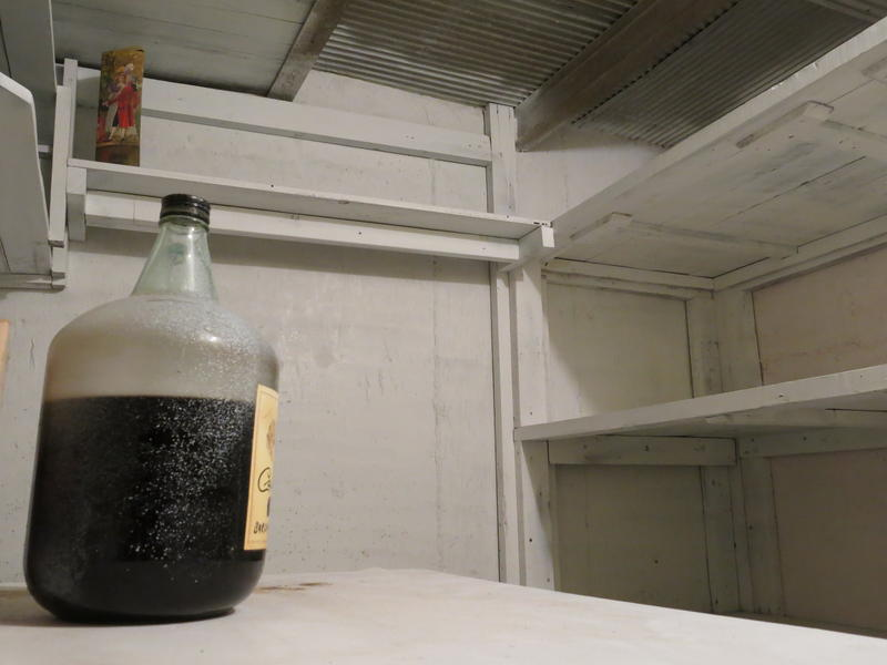 "Some of the ""old booze"" now stored in the Vine-area shelter."