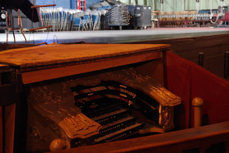 This pipe organ is original to the theatre and stays hidden under a cover most of the time