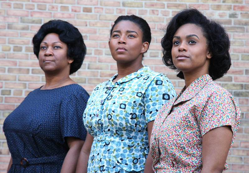 "From left to right: Dwandra Lampkin, Ariszia Staton, Imari Brown in WMU's production of ""Waiting to be Invited"""