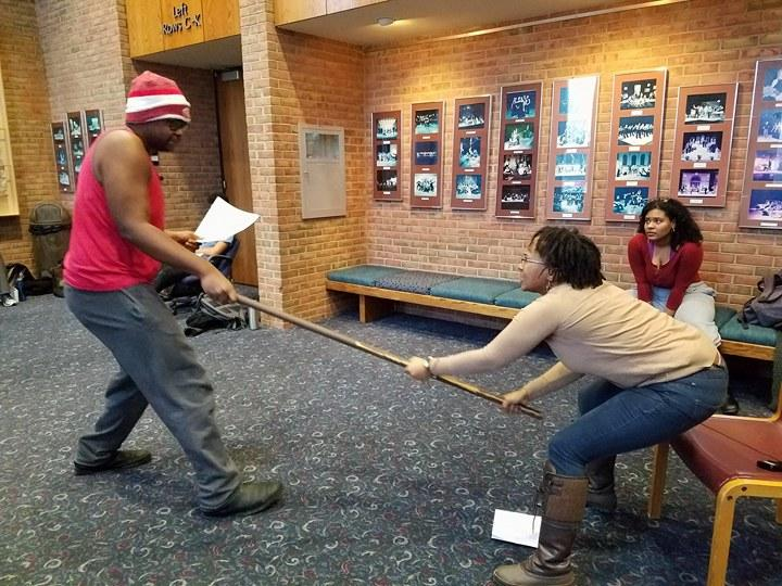 "Brandon Burnett and Janai Travis rehearse ""Flood Gates"" for the Kalamazoo Black Lives, Black Words event"