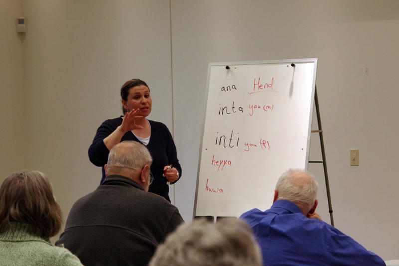 Instructor Hend Hegab teaching Arabic at the Oshtemo branch of the Kalamazoo Public Library