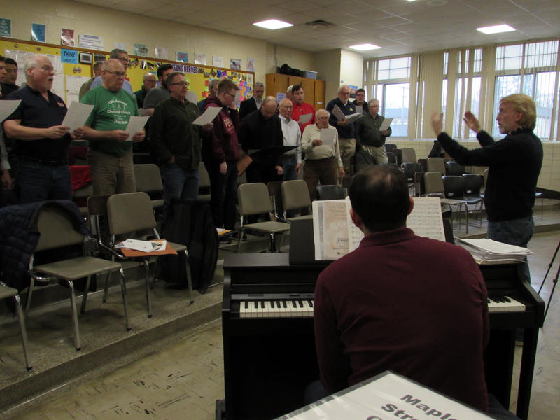 The Kalamazoo Male Chorus rehearsing at the Maple Street Magnet School