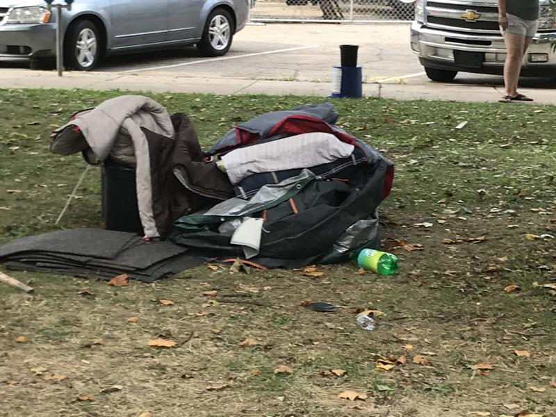 File photo of homeless camp in Bronson Park in 2018 - Gordon Evans, WMUK
