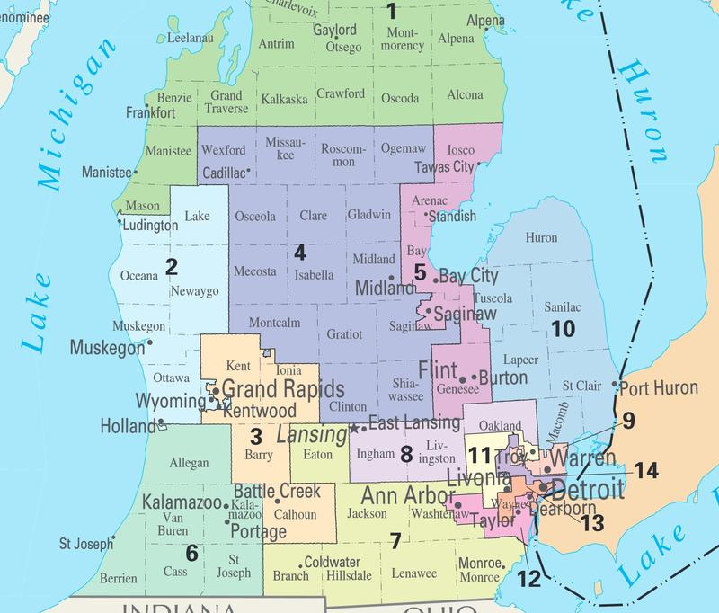 Map of Michigan's Congressional Districts