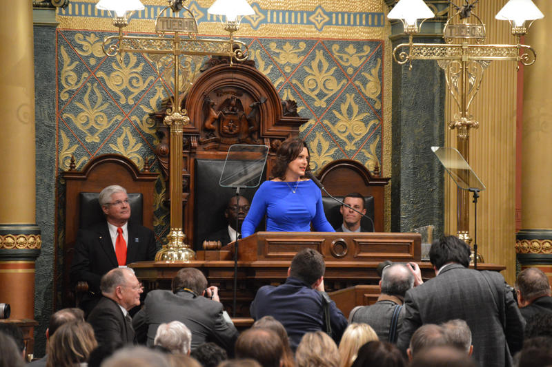 Governor Gretchen Whitmer giving her State of the State address Tuesday night February 13th, 2019. Photo by Jake Neher, WDET
