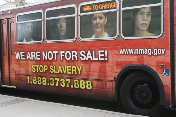 Bus in New Mexico promotes national trafficking hotline