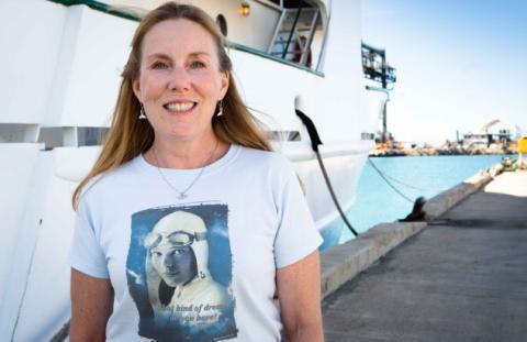 Patricia Webb at dockside