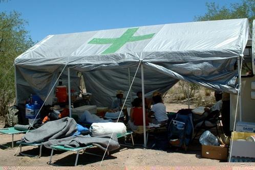 No More Deaths desert camp medical aid tent