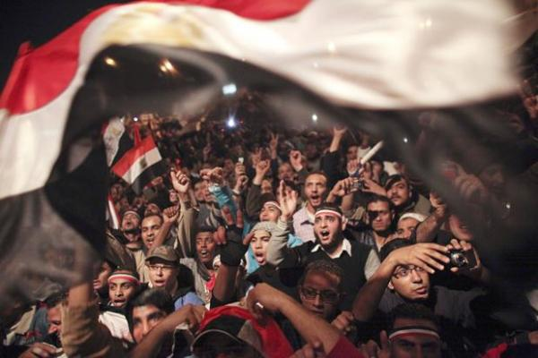 Egyptians celebrate in February 2011