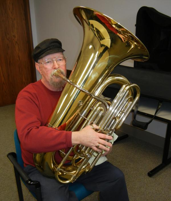 George Forrester and his tuba