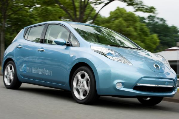 """A Nissan Leaf, one of the vehicles being considered for """"Project Green Drive"""" in Kalamazoo"""