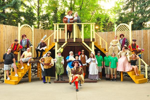 The cast of The Comedy of Errors at Shakespeare in the Park in Portage