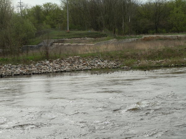 On the other side of the Kalamazoo River sits the last remnants of the Plainwell Dam. It was removed in 2007.