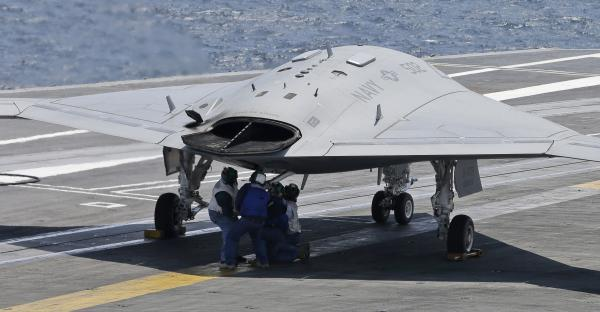 The U.S. Navy tests a X47B drone aircraft in July 2013
