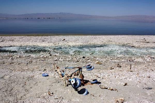 Life's litter lingers along the Salton Sea shore in Bombay Beach