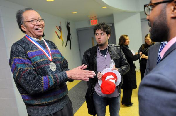 Walter Dean Myers mingles at a Read Across America Day event