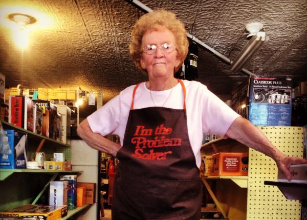 Sunburg, Minnesota, hardware store owner Marsha Skindelien
