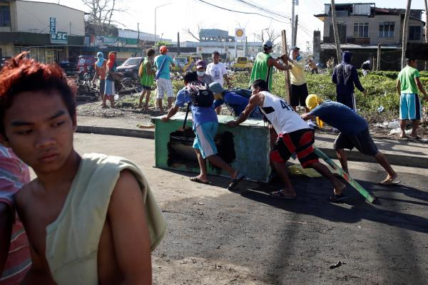 Clean up from the massive typhoon in the Philippines