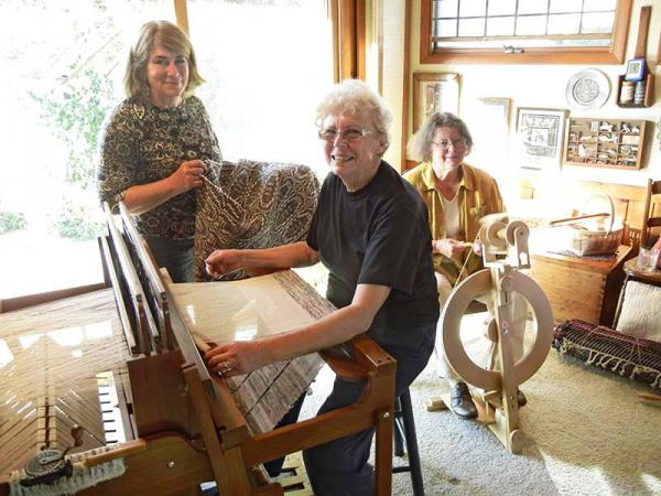 Members of the Weaver's Guild of Kalamazoo. From left to right: Marta Williams, Judi Southwell and Anne Mehring