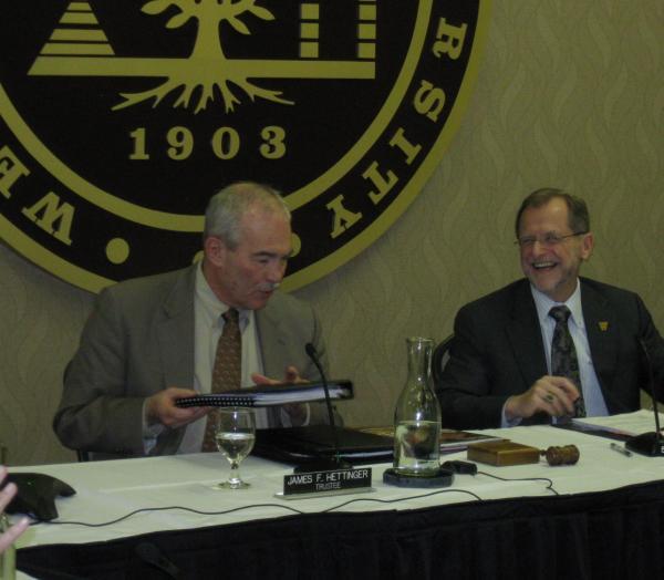 Jim Hettinger (left) and Western Michigan University President John Dunn