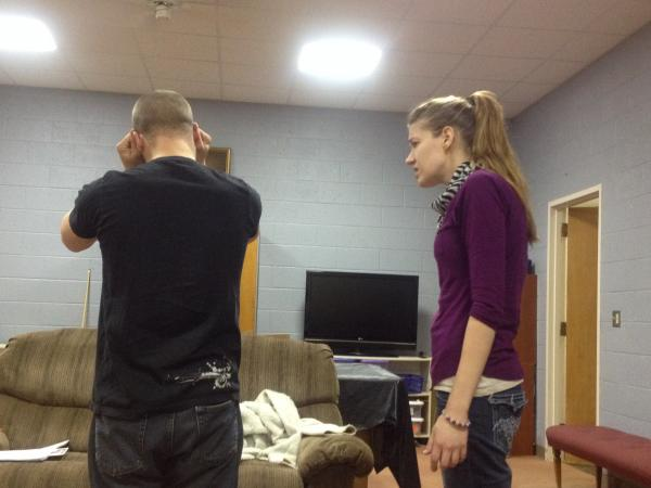 """Alistair J Watt and Beth Schaub in rehearsal for the play """"Remember Me."""" They are performing this weekend as part of the Lake Effect Fringe Festival"""