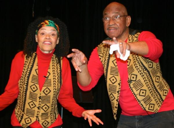 Von (left) and Fran Washington are accomplished performers who share stories on history, race, and culture with schoolkids across the region.
