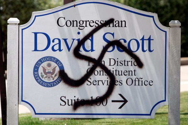 A swastika drawn on the sign outside of a Georgia Congressman's office in 2009 - file photo