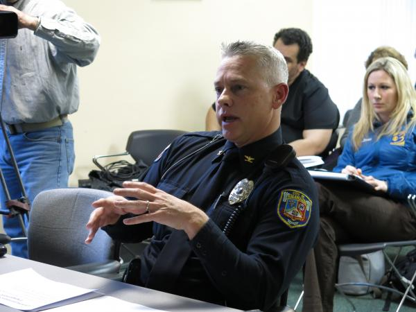 Public Safety Chief Jeff Hadley speaks to the Kalamazoo City Commission March 10.