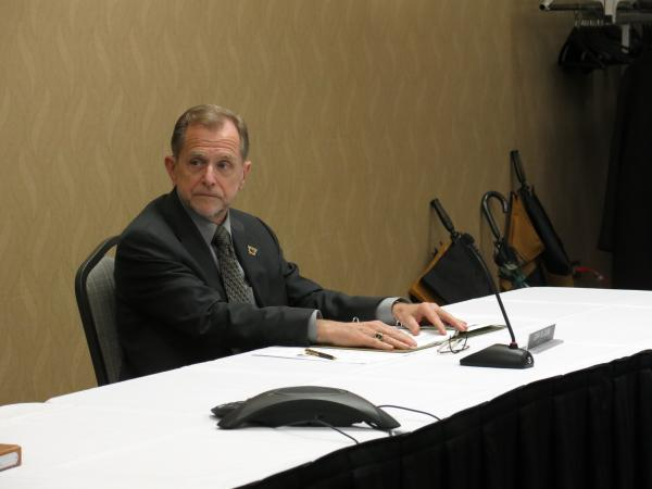 WMU President John Dunn at a special meeting of the board of trustees.