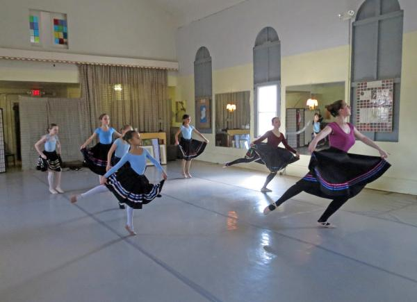 Apprentice students doing Highland dances at the Bullard School of Dance