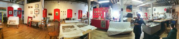 Panoramic photos of Alynn Guerra's studio, where she operates Red Hydrant Press, her letterpress business.