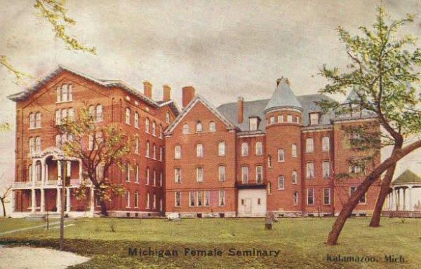 Michigan Female Seminary postcard from the archives of Kalamazoo Valley Museum