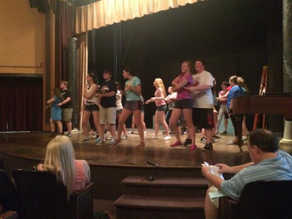 """Actors in the Marshall Civic Players production of """"Zombie Prom"""" practice their dance moves. The show opens July 17."""