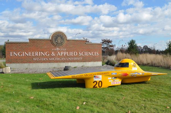 The 2014 Sunseeker Solar car, built by WMU engineering students.