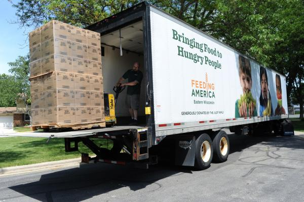 A pallet of food is unloaded in the Milwaukee area