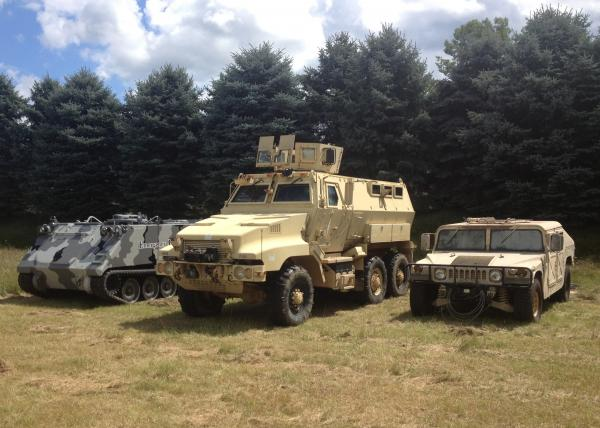 Surplus military vehicles used by the Barry County Sheriff's Department