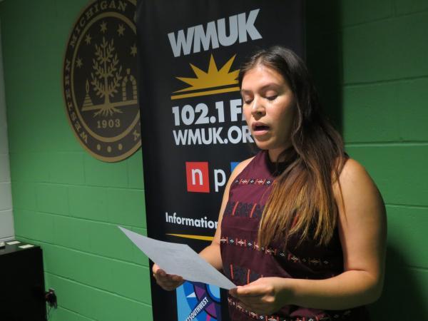Donald Hall Poetry Prize Winner Iliana Rocha reading her poetry at the WMUK studio