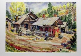 Pisgah Forest Pottery Oil Painting
