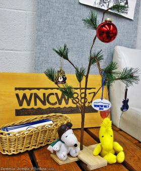 A pathetic little charlie brown christmas tree with wncw stuff on it