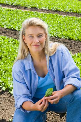 Nell in a lettuce field